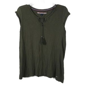 TOMMY HILFIGER Army Green Tunic Top Blouse SP